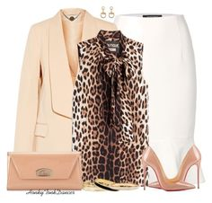 White Skirt and Leopard Blouse by honkytonkdancer on Polyvore featuring polyvore fashion style Boutique Moschino STELLA McCARTNEY Ellen Tracy Christian Louboutin Vita Fede Halcyon Days Stella & Dot Gucci clothing LeopardPrint pencilskirt summerdate christianlouboutinbag christianlouboutinpumps