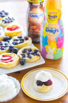 Perfect for springtime brunches, Fruit and Cream Cheese Puff Pastries topped with homemade International Delight® PEEPS® Sweet Marshmallow whipped cream! Easter Recipes, Appetizer Recipes, Dessert Recipes, Appetizers, Breakfast Recipes, Cream Cheese Puff Pastry, Cream Cheeses, Non Dairy Coffee Creamer, Homemade Whipped Cream