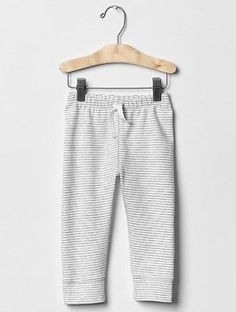 GAP Baby Boy 3-6 Months NWT Ivory / Gray Striped Pull-On Knit Sweatpants Pants