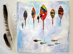 Feather painting in bright colours. Mixed media on canvas. By Renee Walden @Scatterlings