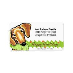 Shop Smooth Red Dachshund Christmas Label created by offleashart. Christmas Puppy, Christmas Cards, Polka Dot Scarf, Polka Dots, Red Dachshund, Christmas Address Labels, Custom Address Labels, Candy Cane, Smooth