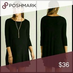 Your Favorite Black Dress Scoop Neck T-Shirt Dress with Scalloped Hemline Non sheer.   You will love this dress! I bought three for myself! Dresses