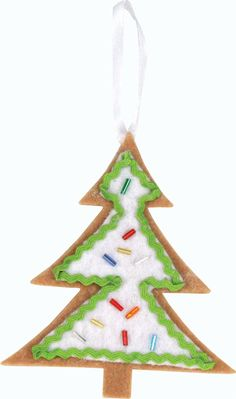 Santa's Sweet Shop - Felt Cookie Ornament. Project sheet can be found here: http://www.craftsdirect.com/default.aspx?PageID=311&ProjectID=577