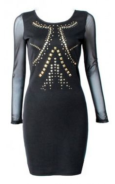 £22.40    http://www.pussycatlondon.com/latest-fashion-clothing-1/long-sleeve-studded-bodycon-dress.html?color=Black=8
