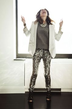 Thematic Repelling: New Years Eve | Man Repeller necklace: DANNIJO, blazer: Alexander Wang, sweater: T by Alexander Wang, pants: thanks Calypso, shoes: Valentino