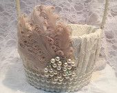 flower girl basket, blush flower girl basket https://www.etsy.com/ca/shop/iweddingworld?page=3 beautiful lace flower girl basket in ivory embellished with pearls, a blush feather and a pearl and rhinestone brooch.  Other accessories can be made to match this item.