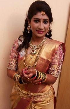 Our beautiful #IndianBride Sudha for her reception. Traditional Southern Indian bride wearing bridal silk saree and jewellery. Muhurat look. Makeup and hairstyle by Vejetha for Swank Studio. #BridalSareeBlouse #SariBlouseDesign #statementblouse Silk kanchipuram sari. Tamil bride. Telugu bride. Kannada bride. Hindu bride. Malayalee bride  Find us at https://www.facebook.com/SwankStudioBangalore