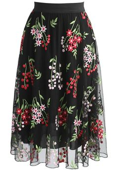 Bouquet in the Air Mesh Skirt in Black - New Arrivals - Retro, Indie and Unique Fashion