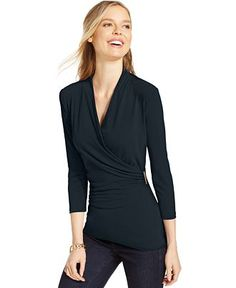 Charter Club Crossover Wrap Top, Only at Macy's - Tops - Women - Macy's
