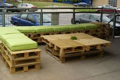 Old palletes make a great outdoor seating area - Bozell, Omaha (advertising agency)