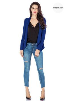 Street Style // Achieve that chic polished look on the street with these royal blue draped blazer. Check it out.