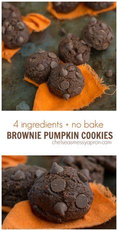 4 ingredients NO BAKE Brownie pumpkin cookies!
