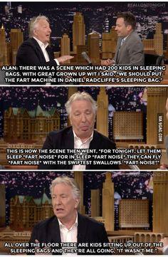 Alan Rickman's sophisticated sense of humor. Professor Snape ladies and gentlemen!!