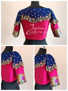 Beautiful pink and royal blue color trendy bridal designer blouse with floret lata design hand embroidery thread work. Blouse with new trendy style cape design. 13 February 2018