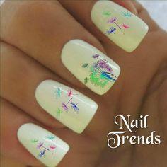 Rainbow Dandelion Nail Design.