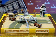 Nueva ruta Ginebra-Sevilla operada por easyJet España. 21 de febrero de 2013. #tarta #cake www.aena.es