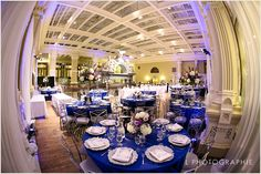 Silver Chameleon Chairs. Available exclusively at Weinhardt Party Rentals. Silver Flower Chargers. Royal Blue Satin Table Linens. St. Louis, MO Wedding. Old Post Office Wedding. L Photographie.