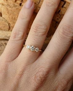 Three Stone Prong Set Diamond Ring by kateszabone on Etsy $2795