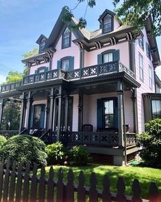Love the black and pink together! Pink Houses, Old Houses, Tudor House Exterior, American Houses, Unusual Homes, Second Empire, Victorian Architecture, Gothic House, At Home Store