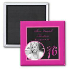 """{TBA} 2""""x2"""" Sweet 16 Hot Pink  Announcement Magnet"""