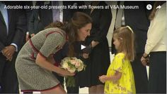 #Watch #Video #Adorable #six-year-#old presents #Kate with #flowers at V&A #Museum