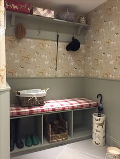Laura Ashely Harwood Boot Room with Laura Ashley Hunterhill Dog Dark Linen Patterned Wallpaper