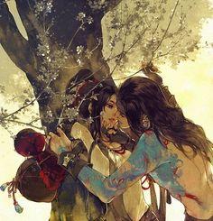 ~kiss under tree illustration by Ibuki Satsuki - detail