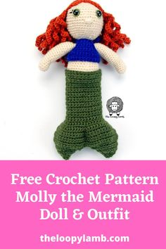 Looking for an adorable free crochet doll outfit? Check out Molly the Mermaid! The outfit includes a mermaid tail and halter top to go with my free crochet doll pattern: My Dolly Molly! Makes a wonderful gift for little ones! #crochetmermaid #mermaidtaildoll #freecrochetdollpattern #freecrochetdolloutfit Crochet Dolls Free Patterns, Crochet Doll Pattern, Amigurumi Patterns, Amigurumi Doll, Crochet For Kids, Free Crochet, Tails Doll, Crochet Decrease, Crochet Mermaid