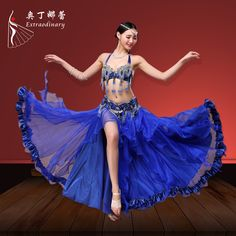 9501094bd5a5 Performance Women Dancewear Professional Outfit Bra+Belt +Skirt Oriental  Beads Costume Belly Dance S/M/L