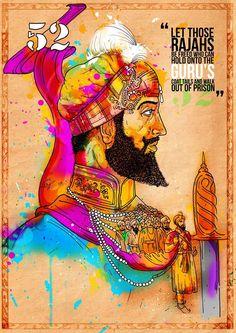 Guru Hargobind Ji by FulkariBazaar on Etsy… Guru Harkrishan Ji, Guru Nanak Ji, Guru Granth Sahib Quotes, Shri Guru Granth Sahib, Learn To Fight Alone, Guru Nanak Wallpaper, Gurbani Quotes, Sikh Quotes, Guru Pics