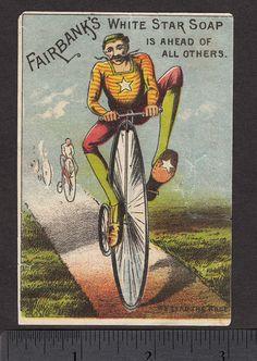 CA 1880's Bike H T Rush Newton IL Bicycle Race Fairbanks Soap Advertising Card   eBay