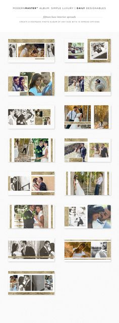 ModernMASTER™ ProPhotographer Album Template: Simple Luxury-- included FREE for limited time with regular premium membership on www. Wedding Album Cover, Wedding Album Layout, Wedding Album Design, Wedding Photo Albums, Wedding Photos, Photoshop Design, Layout Design, Web Design, Design Ideas