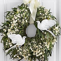 """17"""" Remembrance Wreath with Doves - Preserved"""