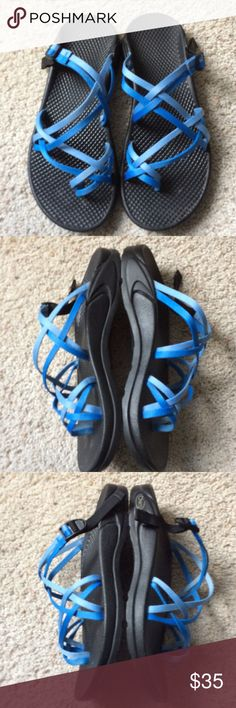 Women's Blue Chacos. W7. Used condition. Please see photos for signs of wear, including a little dirt to insole and straps, even though these have been machine washed and air dried. W7. Sorry photos are a little blurry...my iPad won't focus today😔. I'll try again later. Chaco Shoes Sandals