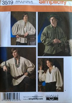Renaissance Shirt, Renaissance Costume, Simplicity Sewing Patterns, Vintage Sewing Patterns, Medieval Peasant, Costume Patterns, Costume Ideas, Halloween Patterns, Clothes Patterns