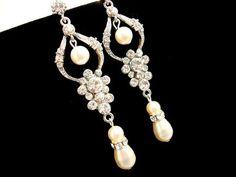Bridal earrings wedding earrings bridal chandelier by treasures570, $50.00