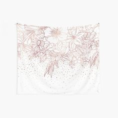 """""""Rose gold hand drawn floral doodles and confetti design """" Wall Tapestry by InovArtS Tapestry Design, Wall Tapestry, Floral Doodle, Thing 1, Flower Doodles, Gold Hands, Textile Prints, Flower Wall, Hand Henna"""