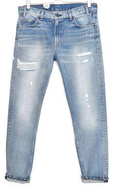937a4a8d5f7c NEW Levis 505 C SLIM STRAIGHT LEG Blue Ripped Stonewash Jeans Size 12 W31  L32 #