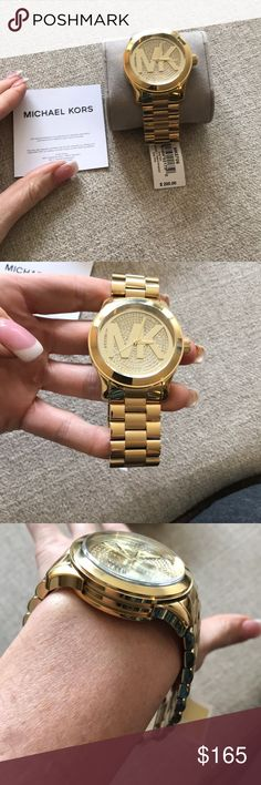 Michael Kors Watch Brand new woth tags gold colored mens Michael Kors watch. Link can be removed. It of course is unisex. It has rhinestones pr crystals on the face. Stainless steel. Comes with box. Michael Kors Accessories Watches