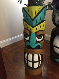Tiki wall mask hand made fromRealPalm tree hand-painted perfect for your garden area hanging on your fence hanging on your wall 30 tall 10 wide