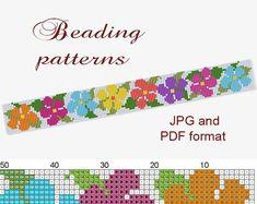 Peyote Bracelet Pattern, Peyote Pattern,Loom Pattern,Loom Bracelet, Peyote Bracelet,Seed Bead Pattern,Beading Pattern,Beading Flower Pattern