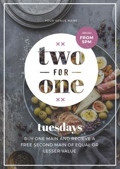 Two for One DIY Promotion template for restaurants
