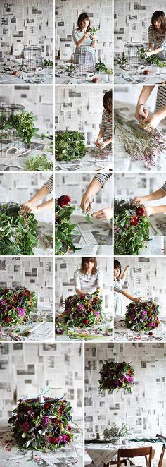 DIY dinner party // fresh flower pendant light www.flowermuse.com