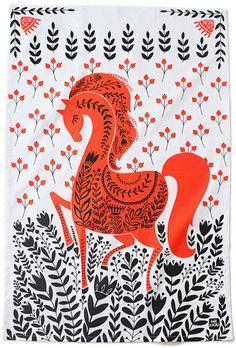 Red Horse torchon 100 % coton 20 x 30 est livré par MirDinara