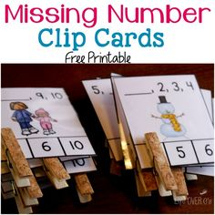 Free missing number clip cards with adorable winter pictures! These would work great for my math center!