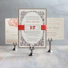 Boda invitación melocotón de la boda invitaciones por BeaconLane