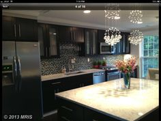 Light fixtures and a great kitchen