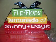 Summer Blocks - cute for the back deck, especially with a shell or latern on top. 2x4 Crafts, Wood Block Crafts, Wooden Crafts, Diy Wood Projects, Cute Crafts, Decor Crafts, Crafts To Make, Summer Crafts, Holiday Crafts