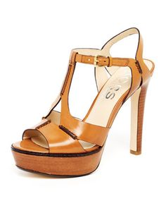 Brookton Leather Cutout T-Strap Sandal, Dark Tan or Persimmon by KORS Michael Kors at Neiman Marcus.