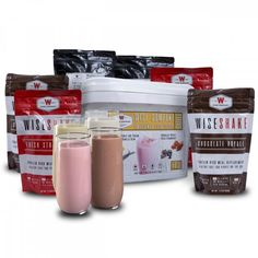 This meal replacement shake kit includes 40 servings of 4 unique flavors. Shake flavors include Vanilla Bean, Chocolate Royale, Peaches & Cream, and Fresh Strawberry! Survival Supplies, Emergency Supplies, Survival Food, Emergency Preparedness, Survival Skills, Wise Foods, Meal Replacement Drinks, Emergency Food Storage, Emergency Preparation